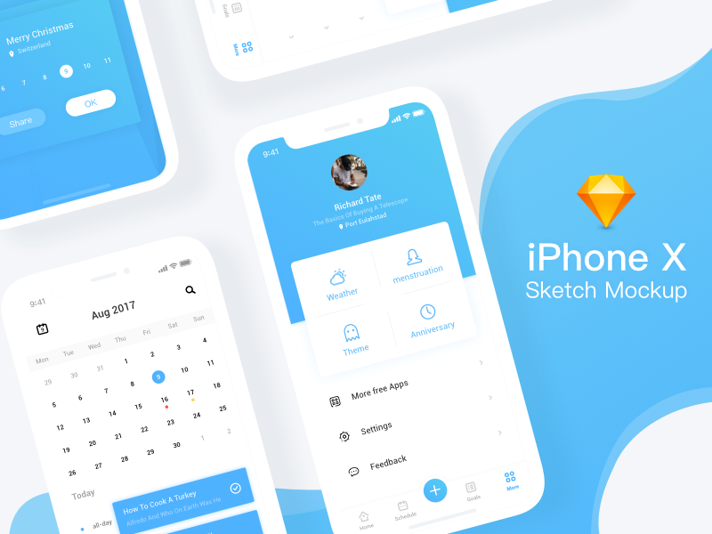 iPhone X Sketch mockup by viggoz